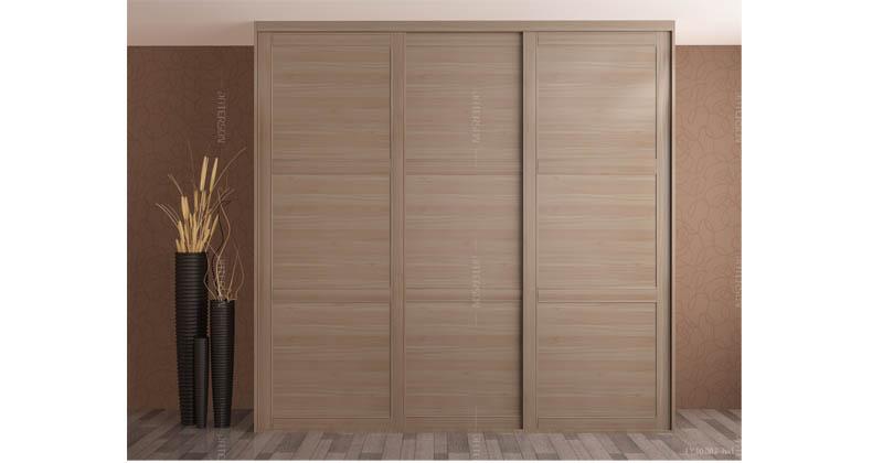木纹移门衣柜(德国胡桃)三格均分-横纹平板