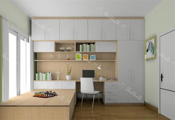 书房摆了榻榻米,床头再配上小书柜,斜躺时取放书很方便!既实用又好看.