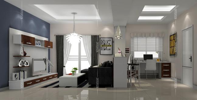 第六式:吊柜/层板书架,节约空间有一手   利用客厅中的一面墙打造一