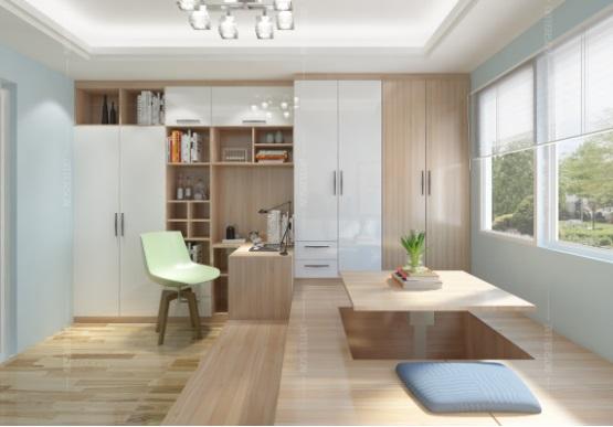 衣柜,书柜和榻榻米的相配形成浑然一体的设计,很特别吧?