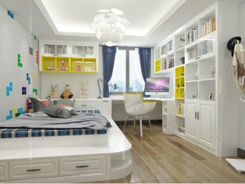有单人床的宽度就够,旁边就可以加上一张书桌,整面墙打书柜,就算卧室