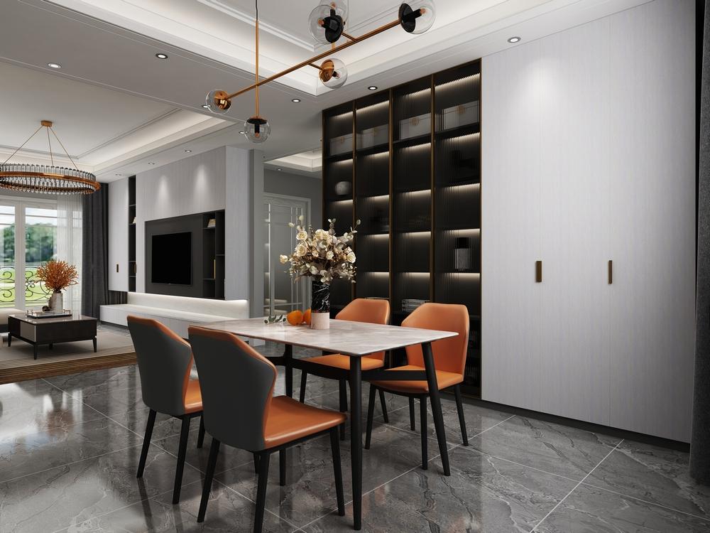 现代轻奢|大理石&皮质餐桌椅